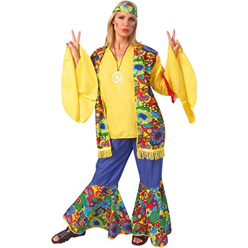 Womens Hippie Flower Child Costume (Size:Large 12-14)