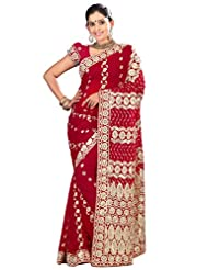 Designer Evoking Maroon Colored Embroidered Faux Georgette Saree By Triveni