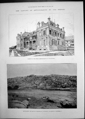 Stampa Antica del Bloccaggio Antananarivo Dagli Aceri Francesi Likoma 1895 del Vescovo