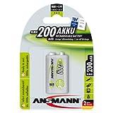 Ansmann ANS9V200MaxE PP3 9v 200mAh Rechargeable Batteries Carded 1
