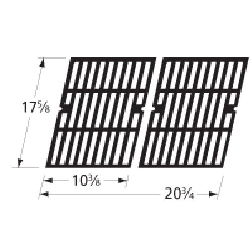 Music City Metals 69762 Gloss Cast Iron Cooking Grid Replacement for Gas Grill Model Brinkmann 810-9200-0, Set of 2