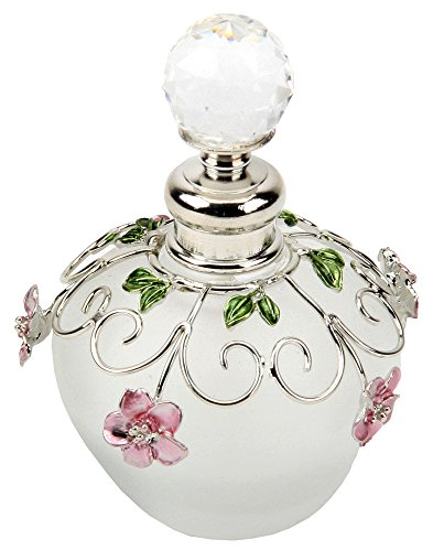 Opaque Glass Small Perfume Bottle with Pink and Green Floral Detail By Haysom Interiors