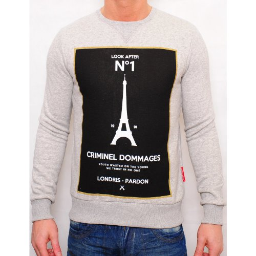 Criminal Damage Mens Grey No1 Jumper Crew Neck Large Chest Print Designer Grey Large