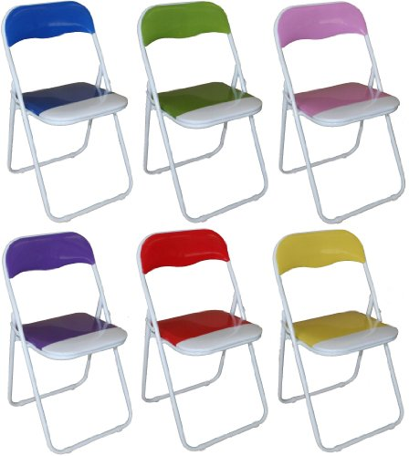 Set of 6 Padded Folding Chairs Blue, Green, Pink, Purple, Red and Yellow - Great for, Office, Desk, Poker, Spare / Extra Seating