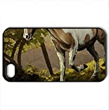 Vivarium - Case Cover for iPhone 4 and 4s (Horses Series, Watercolor style, Black)