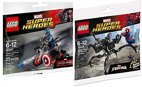Lego Spider-Man VS Captain America Lego Super Heroes: Civil War Captain America Motorcycle Mini Figure Marvel 3044 & Spider-Man Super Jumper The Venom Symbiote #30448 (Spiderman Vs Captain America compare prices)