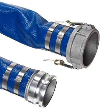 Continental ContiTech Spiraflex Blue PVC Extra Light Duty Discharge Hose Assembly, Aluminum Cam And Groove Couplings
