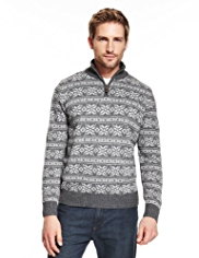 Blue Harbour Lambswool Rich Half Zip Snowflake Jumper