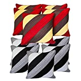 Diagonal Patch Quilting Cushion Covers Combo Red & Grey 40 X 40 Cms(10 Pcs Set)