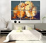 6 painting sets of two baby chickens Canvas oil painting print with wooden mounting | printasia CANVAS CLOTH PAINTING PRINT , size 31x31x5 cms