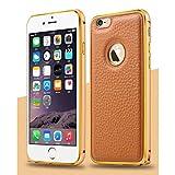 【 iphone6s / 6s plus対応 】4 色 iphone 6 / 6 plus レザー アルミバンパー ケース スマホ アイフォン カバー クロコダイル (ブラウン, iphone6(iphone6s))