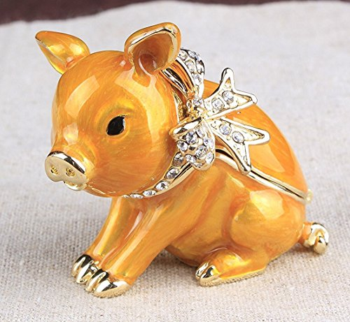 Pig Handcrafted Jeweled Pewter Trinket Box New Lovely Pig Jewelry Box