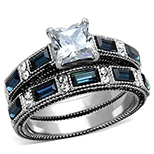 1 Carat Princess Cut CZ /Blue Sapphire CZ Women's Stainless Steel Wedding/Engagement Ring Set from Lanyjewelry