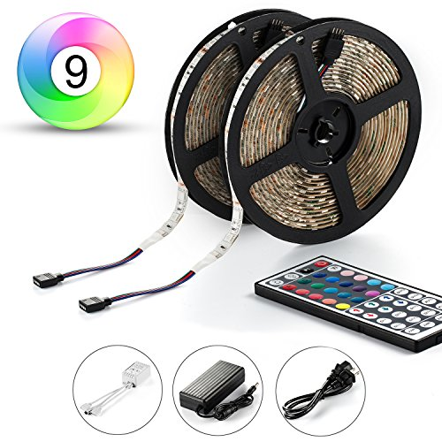 Led Strip, ABASK LED Strip Lights Kit SMD 5050 Waterproof 300leds RGB 30leds/m 32.8 Ft (10M) with 44key IR Controller For Car Truck Boat Christmas Graduation Party Weddings Indoor-Outdoor Decoration (Led Strip Light Kit Car compare prices)