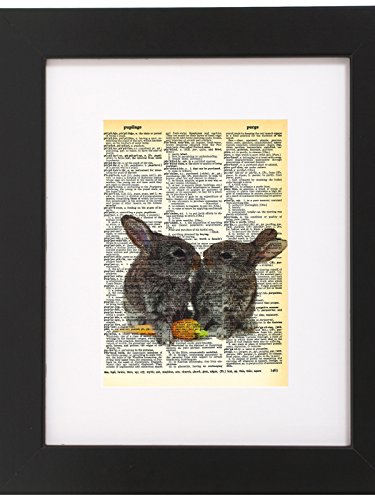Dictionary Art Print Bunnies Kissing Printed On