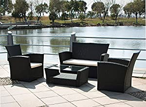 Tenive Deluxe Outdoor PE Rattan Wicker Sofa sets, 4-Pieces Cushioned Sectional Patio Furniture Set of Lounge Chaise & Coffee Table, Black from Tenive