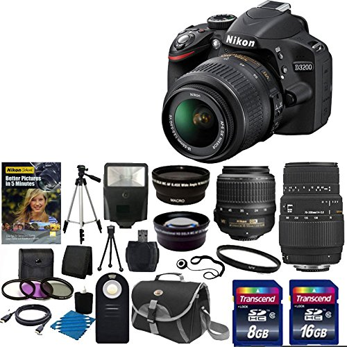 Nikon D3200 24.2 Mp Cmos Digital Slr With 18-55Mm F/3.5-5.6 Af-S Dx Vr Nikkor Zoom Lens + Sigma 70-300Mm F/4-5.6 Sld Dg Macro Lens With Built In Motor Lens + 52Mm 2X Professional Lens +High Definition 52Mm Wide Angle Lens + Auto Flash + Uv Filter Kit With