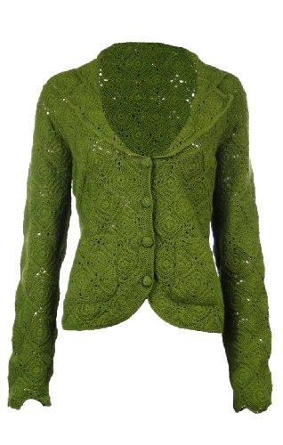 Sutton Studio Womens Crochet Cardigan Blazer (Medium, Green) [Apparel] [Apparel]
