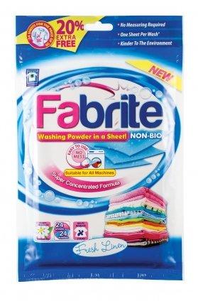 Fabrite Washing Powder In A Sheet - Non Bio Fresh Linen - 24 Sheets
