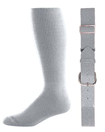 Joe's USA(tm) Baseball/Softball Belt & Sock Combo-IntermediateSilverGrey-Adult