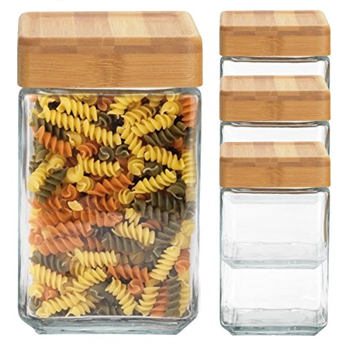 4 Anchor Hocking 40oz Glass Jars Container Bamboo Lid Airtight Seal Stackable Food Storage Saver (Glass Containers For Pasta compare prices)