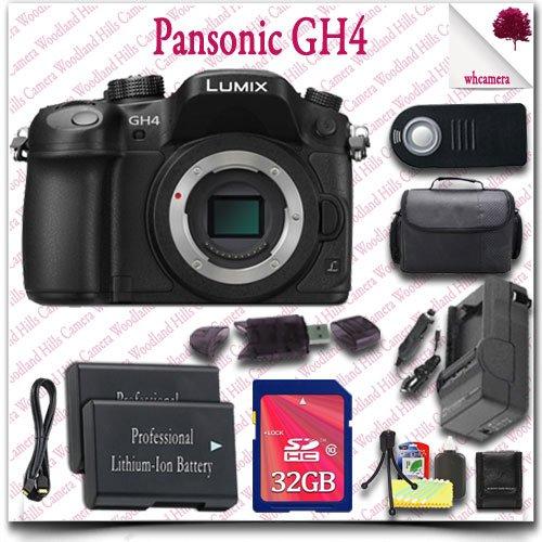 Panasonic Lumix Dmc-Gh4 4K Mirrorless Digital Camera (Body Only) + Wireless Remote + 32Gb Sdhc Class 10 Card + Slr Gadget Bag + Hdmi Cable 13Pc Panasonic Saver Bundle