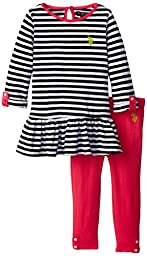 U.S. POLO ASSN. Little Girls\' Rolled Long Sleeve Peplum Top and Knit Legging, Black, 3T