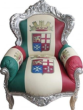 Casa Padrino Baroque Armchair King Italy / Silver - Antique furniture - unique