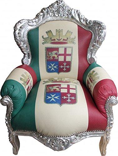 Casa Padrino Barock Sessel King Italien / Silber – Antik Stil Möbel – Unikat
