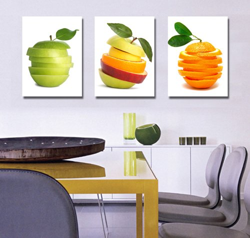Spirit Up Art Huge Tasty Fruits Picture Painting on Canvas Print Stretched and Framed, Modern Home Decorations Wall Art set of 3 Each is 40*60cm #cy-561 (Fruit Art compare prices)