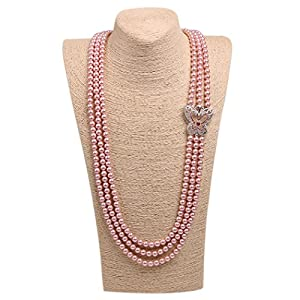 Romantic Time Three Row Freshwater Pearl And Sparkling Silver Pendant Necklace (pink)