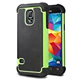 Tinxi® Silicone Protective Case Cover for Samsung Galaxy S5 mini black and green 2 in 1