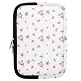 Neotechs® Vintage White Flower Rose Neoprene Padded Pouch Sleeve Carry Case Cover Stand for Amazon Kindle 7