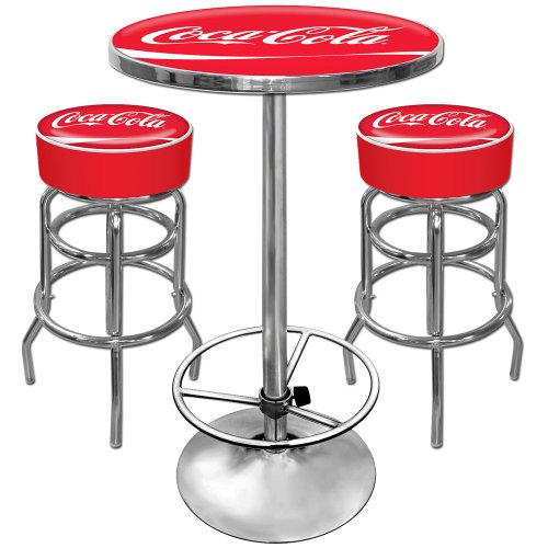 Ultimate Coca-Cola Gameroom Combo - 2 Bar Stools And Table front-332600