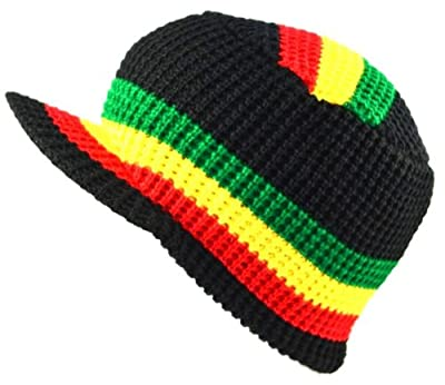 MM Rasta Visor Beanie Skull Cap Stripe Jamaica Reggae Black