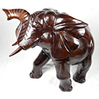 D-ART African Elephant Statue in Solid Teak Wood
