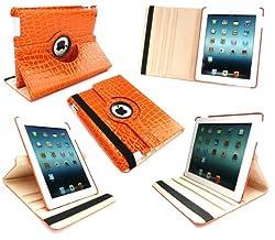 Emartbuy® iPad 3 & iPad 2 Orange Croco Gloss Finish PU Leather Multifunctional / Multi Angle Rotating Folio / Typing Case With Magnetic Sleep Wake Sensor