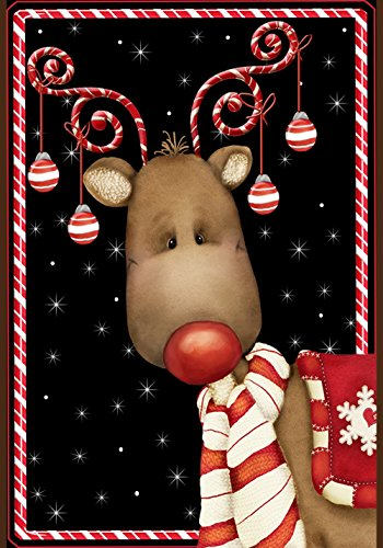 Toland - Candy Cane Reindeer - Decorative Rudolph Winter Christmas Holiday USA-Produced Garden Flag
