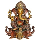 Exotic India Lord Ganesha Seated On Three Elephant Head - Brass Statue - B00U3ZG9M0