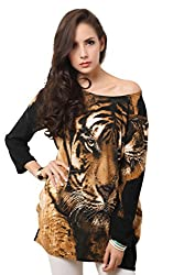 Imported Womens Autumn Winter Tiger Print Rhinestone Long-sleeve Pullover Casual Loose Tops Shirt Blouse/Dress