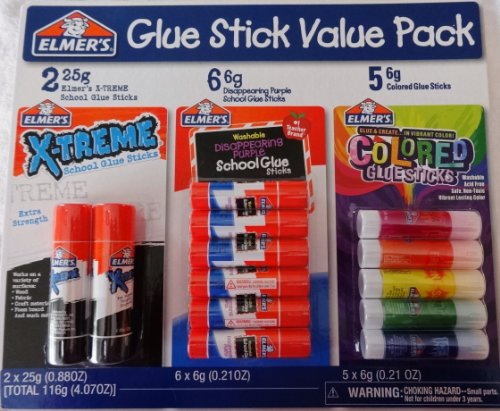 Elmer'S Glue Stick Value Pack - Xtreme, School Washable Disappearing And Colored Glue Sticks front-316630