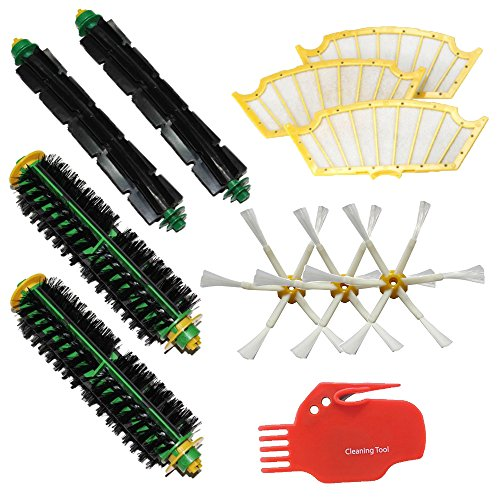 Shp-Zone 2 Bristle Brushes & 2 Flexible Beater Brushes & 3 Side Brushes 6-Armed & 3 Filters & Cleaning Tool Pack Mega Kit For Irobot Roomba 500 Series Roomba 510, 530, 535, 540, 560, 570, 580, 610 Vacuum Cleaning Robots All Green, Red, Black Cleaning Head front-572083