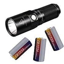 Fenix PD12 360 Lumen LED Flashlight, Black with 3 Pcs 3v Lithium Battery