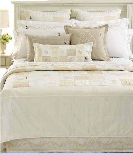 Martha Stewart Monogram Crest Trousseau Euro Pillow Sham Ivory White Quilted front-907533