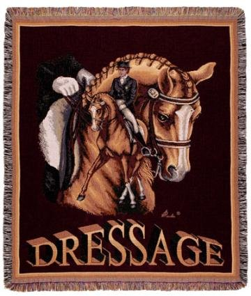 """Dressage Horse Equestrian Tapestry Afghan Throw Blanket 50"""" X 60"""""""