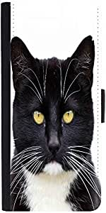 Snoogg Black Tuxedo Cat 144 Graphic Snap On Hard Back Leather + Pc Flip Cover...