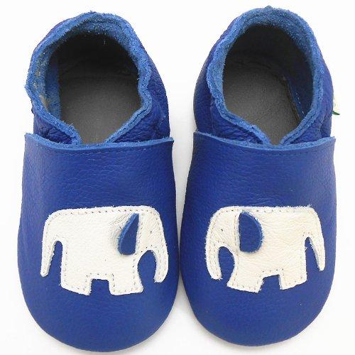 Sayoyo Baby Elphant Soft Sole Leather Infant Toddler Prewalker Shoes (6-12 Months, Blue) front-27874