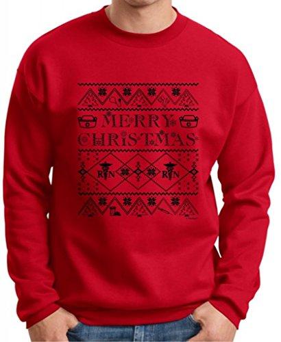 Ugly Christmas Sweater For Nurses Premium Crewneck Sweatshirt Xxx-Large Deep Red