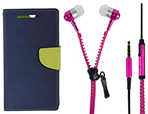 Novo Style Book Style Folio Wallet Case Lenovo A6000::Lenovo A6000 Plus Blue + Zipper Earphones/Hands free With Mic 3.5mm jack