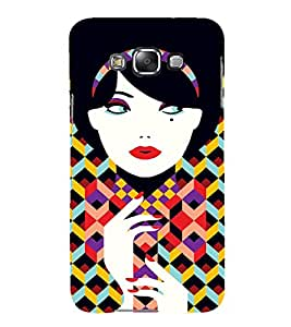PrintVisa Fashion Retro Girl Art 3D Hard Polycarbonate Designer Back Case Cover for Samsung Galaxy E7
